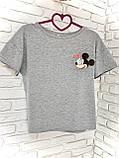 Футболка Жіноча бавовна сіра з принтом Mickey Mouse міккі маус Ox, фото 3