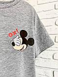 Футболка Жіноча бавовна сіра з принтом Mickey Mouse міккі маус Ox, фото 4