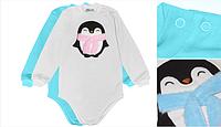 """Боди детский с длинным рукавом на новый год """"пингвин"""" 74 Модные детки"""