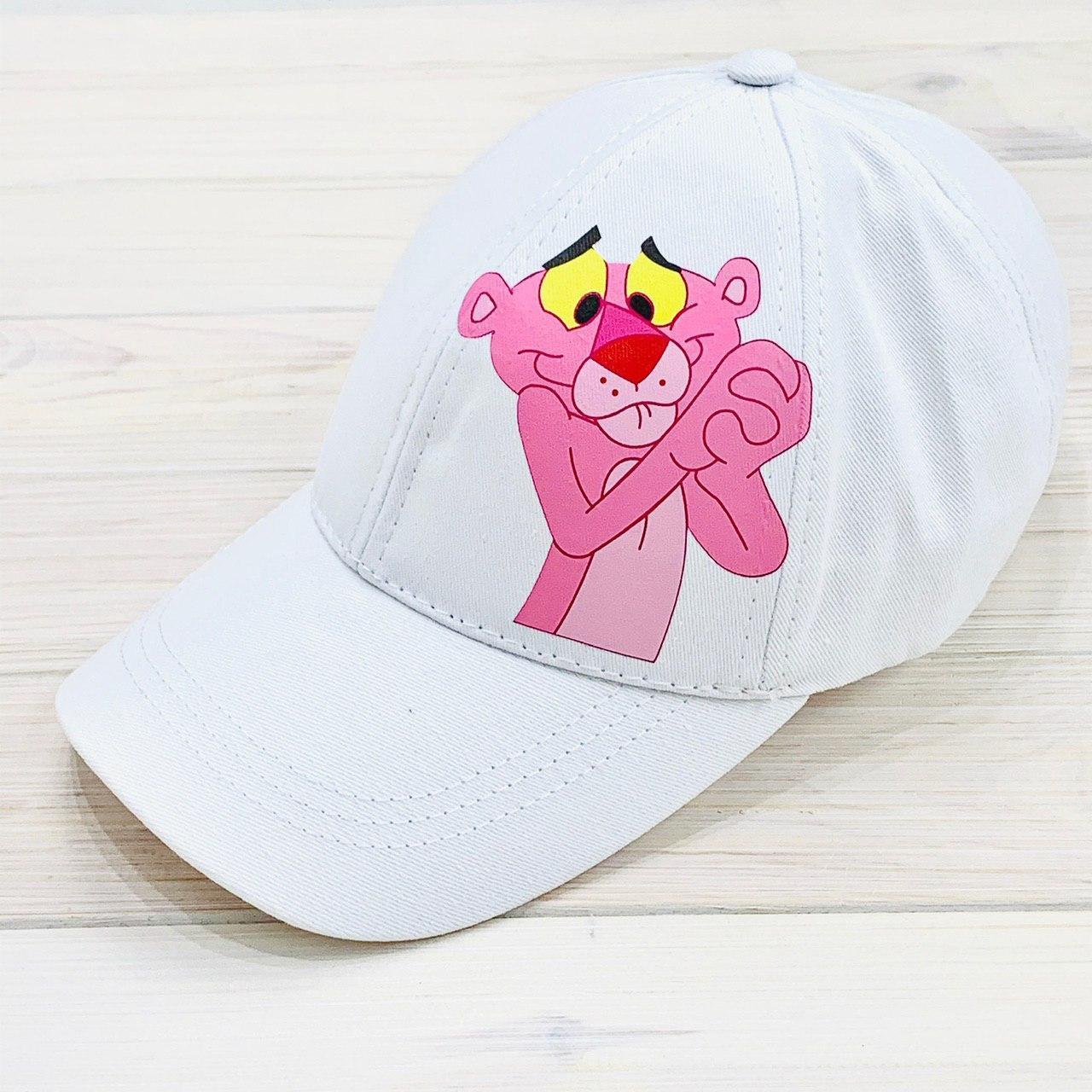 Кепка женская белая с принтом Pink Panther розовая пантера