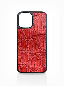 Чехол для iPhone 12 красного цвета из кожи Крокодила