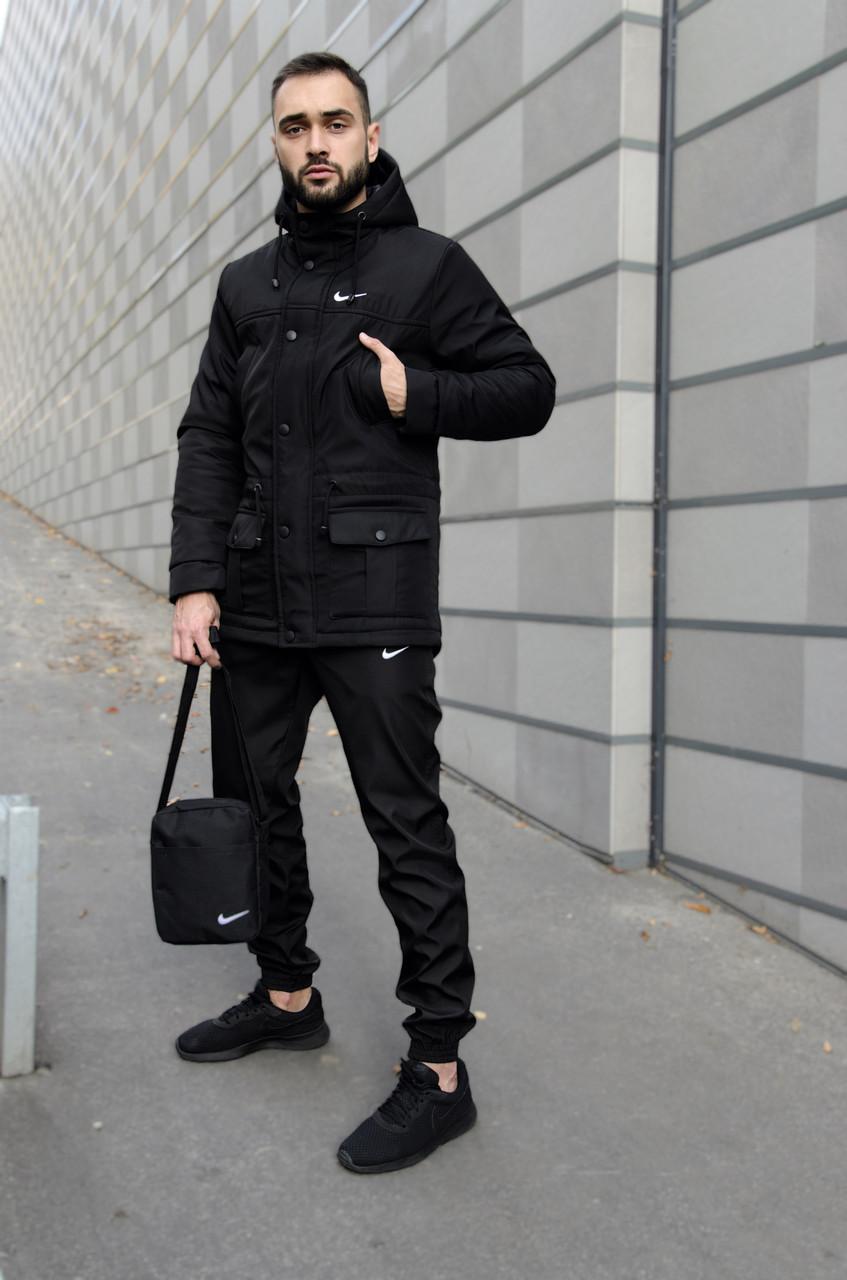 Парка Nike черная зимняя + штаны теплые найк + Барсетка и перчатки в Подарок. Комплект мужской