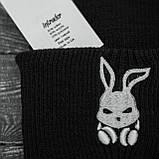 Мужская | Женская шапка Intruder черная, зимняя Bunny logo, фото 2