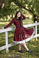 Школьное платье шотландка натуральная ткань (красная клетка) 122 Tiny look