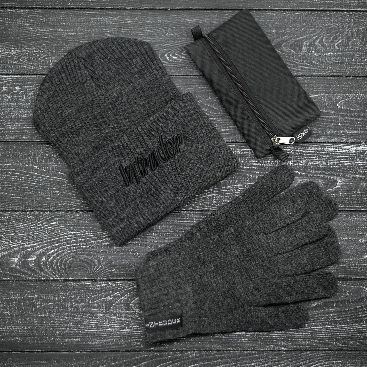Мужская   Женская шапка Intruder серая зимняя big logo + перчатки серые, зимний комплект + ПОДАРОК