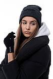 Мужская   Женская шапка Intruder серая зимняя big logo + перчатки серые, зимний комплект + ПОДАРОК, фото 8