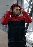 Анорак Nike красный мужской черный теплый ветровка Найк спортивная осенняя весенняя куртка, фото 2
