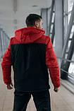 Анорак Nike красный мужской черный теплый ветровка Найк спортивная осенняя весенняя куртка, фото 3