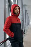 Анорак Nike красный мужской черный теплый ветровка Найк спортивная осенняя весенняя куртка, фото 4