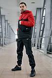 Анорак Nike красный мужской черный теплый ветровка Найк спортивная осенняя весенняя куртка, фото 9