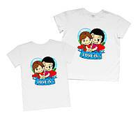 "Пара футболок для влюбленной пары ""love is..."" Family look"