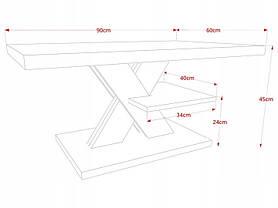 Журнальный столик iMeblowo Cross Mat 60x90x45cm, фото 3