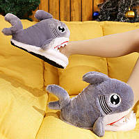 Детские тапочки акулы / Акула тапочки плюшевые / Тапочки Emoji /Тапки кигуруми / Тапочки для дома акула