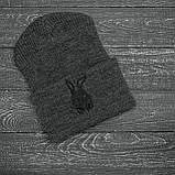 Чоловіча | Жіноча шапка Intruder сіра зимова bunny logo + рукавички сірі, зимовий комплект + ПОДАРУНОК, фото 2