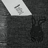 Чоловіча | Жіноча шапка Intruder сіра зимова bunny logo + рукавички сірі, зимовий комплект + ПОДАРУНОК, фото 3