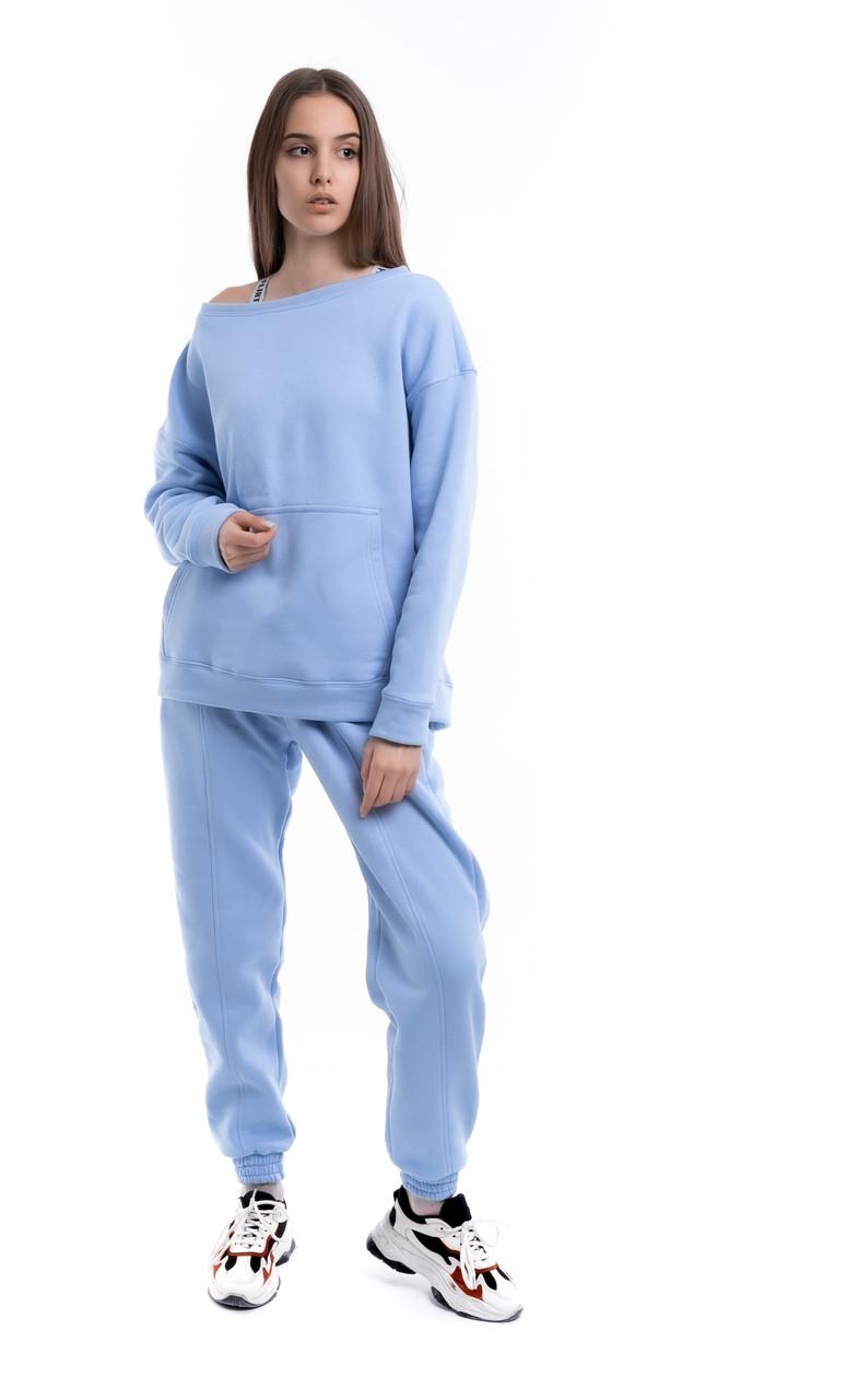 Костюм жіночий спортивний зимовий на флісі Basic Oversize блакитний осінній весняний