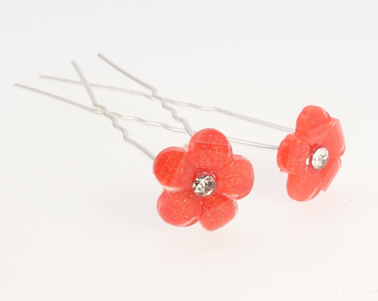 """Шпилька для волосся """"Червона квітка"""" ø 13мм (ціна за одну штуку)"""