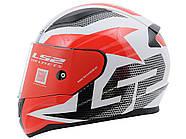 Мотошлем LS2 FF353 Rapid Grid White-Red XL  Марка Европы, фото 4