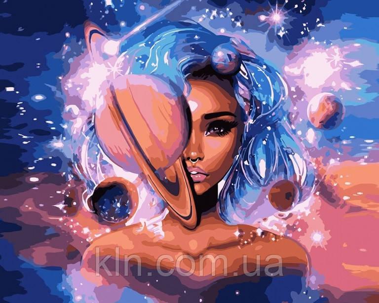 Алмазная вышивка на подрамнике 50 х 40 см Девушка космос (арт. TN967)