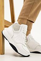 Белые ботинки кроссовки женские из натуральной кожи на массивной подошве из ТЭП, весна осень