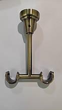 Кронштейн / Утримувач карниза для штор подвійний стельовий 19+19 мм відкритий