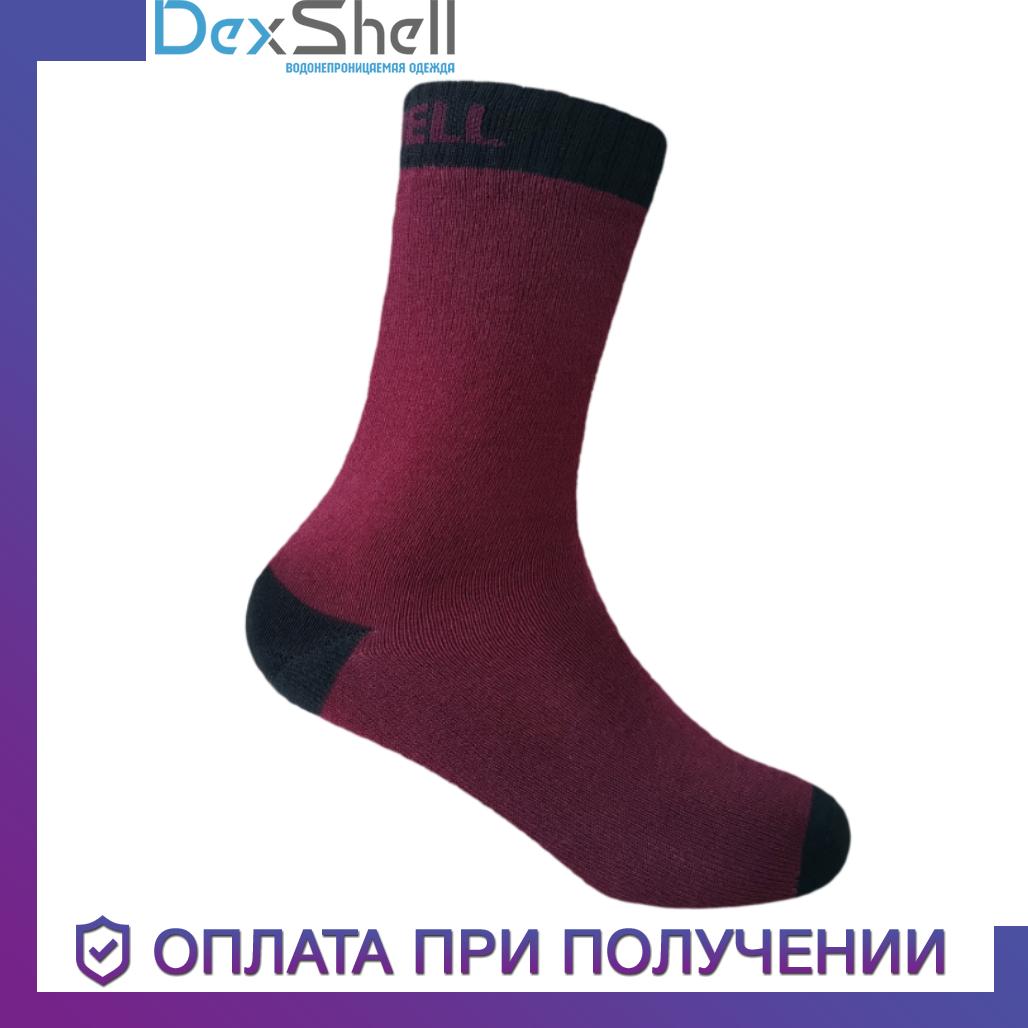 Детские водонепроницаемые носки Dexshell Ultra Thin Children Sock Дексшел размер L бордовый/черный