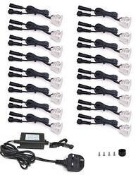 Комплект врезных светильников для подсветки ступеней, полов и мебели 16 LED*0,6 Вт