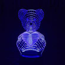 Акриловий світильник-нічник Ведемедик з серцем синій tty-n000022