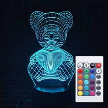 Акриловий світильник-нічник з пультом 16 кольорів Ведемедик з серцем tty-n000044