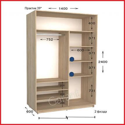 Шкафы купе ПРАКТИК 39 /ширина-1400/ глубина-450/600/ высота-2200/2400  (Гарант), фото 2