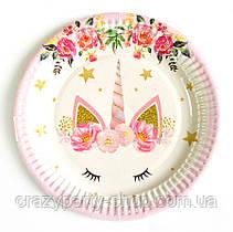 Праздничная одноразовая тарелочка Голова Сказочного Единорога