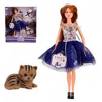 Кукла типа барби Emily Эмили с котом, кукла принцесса 29 см, стильное синее платье и корона, QJ089B