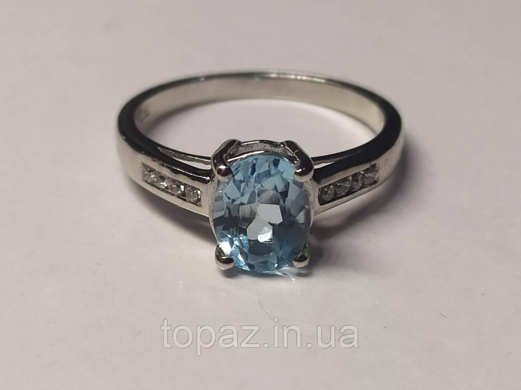 Каблучка срібна 925 натуральний блакитний топаз (SKY BLUE).