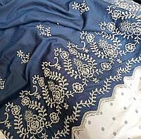 Джинс с вышивкой (узоры на выбор, цвет синий)