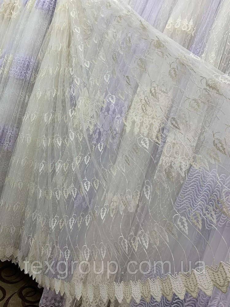 Турецька тюль фатин кремового кольору 1666 залишок 5м
