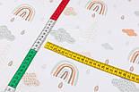 """Тканина бязь """"Веселки і хмари в пастельних відтінках"""" на білому тлі, №2985, фото 6"""