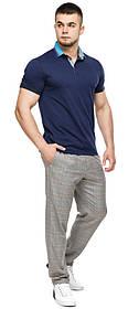 Легкая футболка поло мужская цвет темно-синий-голубой модель 6285