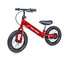 Детский велобег Scale Sports 12 На рост 90-120 см Беговел с ручным тормозом Надувными колесами Красный