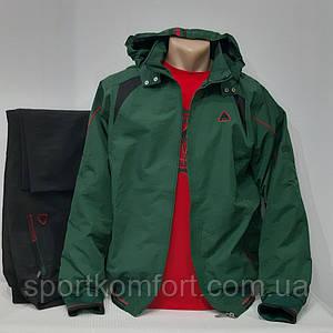 Спортивно-прогулянковий костюм Туреччина Soccer плащівка, підкладка-капюшон брюки прямі кишені зелений розміри М Л