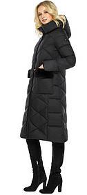Черная куртка из качественных материалов женская зимняя модель 45230