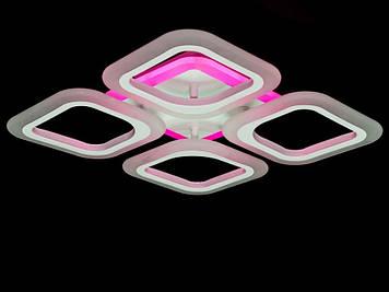 Люстра Потолочная LED с диммером и подсветкой, 55W RGB