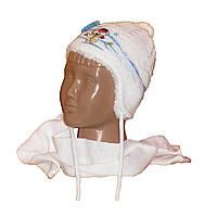 Комплект шапка+шарф на меху для новорожденного 0-6 мес.( р.38-40)