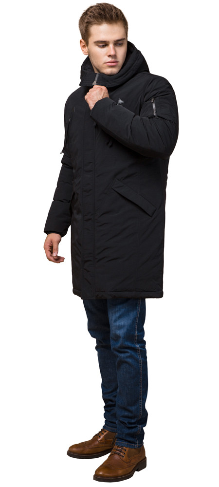 Парка черная зимняя мужская с ветрозащитной планкой модель 23675 (ОСТАЛСЯ ТОЛЬКО 52(XL))