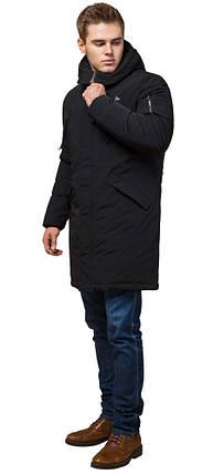 Парка черная зимняя мужская с ветрозащитной планкой модель 23675 (ОСТАЛСЯ ТОЛЬКО 52(XL)), фото 2
