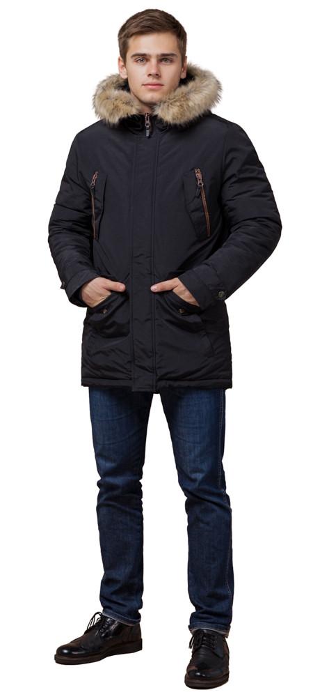 Черная парка теплая на зиму мужская модель 37560 (ОСТАЛСЯ ТОЛЬКО 46(S))
