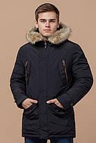 Черная парка теплая на зиму мужская модель 37560 (ОСТАЛСЯ ТОЛЬКО 46(S)), фото 2