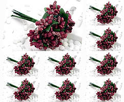 "(ОПТ,12 букетиков) Тычинки ""Незабудка"" на проволоке с листиками (Цена за пачку) Цвет -Бордо"