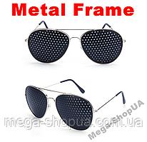 """Очки тренажёры в металлической оправе """"Aviator Silver"""" перфорационные очки.Очки-тренажёры для улучшения зрения"""
