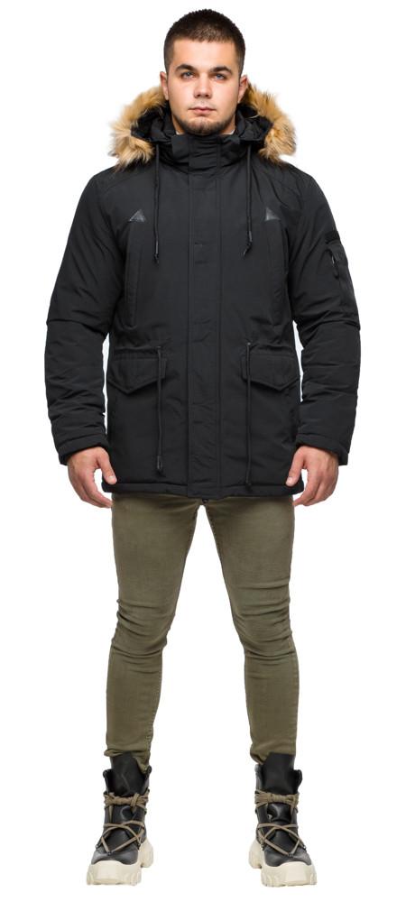 Чорна парку чоловіча молодіжна зимова модель 25770 48 (M)