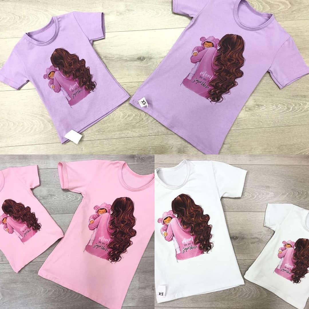 Комплект футболок мама + дочку, дитяча + доросла